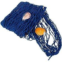 Rete Da Pesca Decorativa Netto Cottone Con Shell Addobbi Feste Casa - 2M x 1M Blu