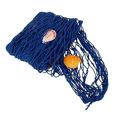 Decorative Nautical Fish Net With Shells Luau Party Wall Decor Blue