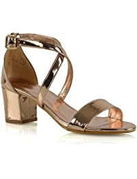 3bfb9cb10bdb Womens Strappy Sandals Block Mid Low Heel Ladies Ankle Strap Party Evening  Shoes Size 3-