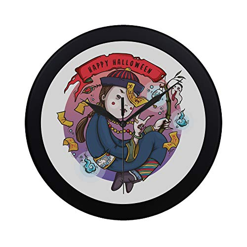 WYYWCY Moderne einfache Nette Karikatur-Zombies-Wanduhr-Innenseiten-Bewegungs-Wand Clcok für Büro, Badezimmer, Wohnzimmer dekorativ 9,65 (Büro Zombie Kostüm)