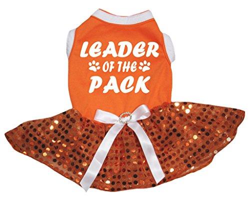 petitebelle Puppy Kleidung Hund Kleid Leader der Pack orange Top Pailletten Tutu
