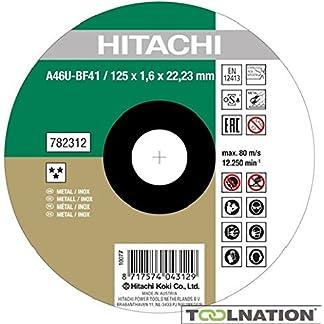Hitachi 782312 – Disco de corte plano, 125 x 1,6 x 22,23 mm, Inox/Metal