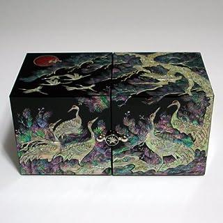 Mother of Pearl Black Kiefer Und Kranichen, Design 2 Cubic Schmuckschatulle, Holz, Truhe, Aufbewahrungsbox, (Lackiert