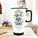 ilka parey wandtattoo-welt Thermobecher Camping Thermotasse Thermosflasche Kaffeebecher Becher Wohnwagen mit Punkten & Spruch viele Wege zum Glück... campen tb095