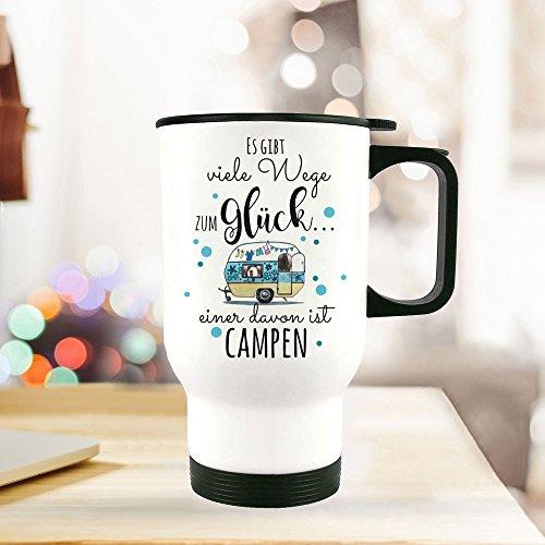 ilka parey wandtattoo-welt® Thermobecher Camping Thermotasse Thermosflasche Kaffeebecher Becher Wohnwagen mit Punkten & Spruch viele Wege zum Glück... campen tb095