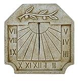 CATART Reloj de Sol en Piedra para Pared Exterior con una Rama de Olivo en la Parte Superior de 39x39 cm | Reloj de Sol Jardín Vertical de Piedra Artificial, Color Marrón