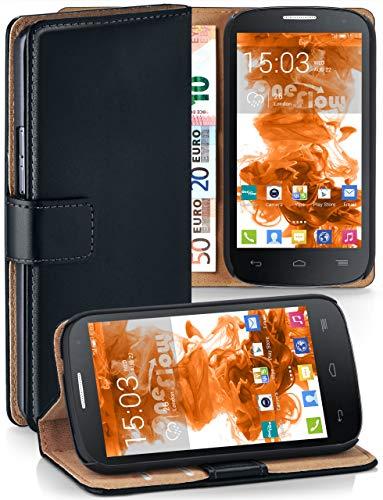 moex® Booklet mit Flip Funktion [360 Grad Voll-Schutz] für Alcatel One Touch Pop C9   Geldfach & Kartenfach + Stand-Funktion & Magnet-Verschluss, Schwarz