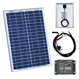 20W 12V Photonic Universe solar panel kit with 5A charge controller and battery cables for a camper, caravan, boat or any other 12V system (20 watt)