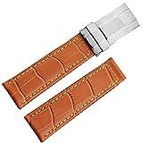 20mm Miele marrone effetto coccodrillo coccodrillo grano in pelle per orologio da polso in acciaio INOX per RX Daytona chiusura
