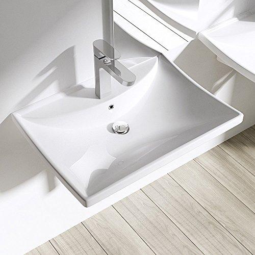 Aufsatzwaschbecken Hängewaschbecken Brüssel709, BTH: 60x44x16cm, in weiß, Design Waschbecken aus Keramik, Waschschale, Waschplatz