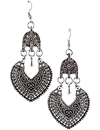 Kommis India Bong Arts Oxidized German Silver Earring With Stone For Girls And Women