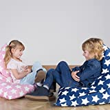 LOUNGE PUG®, Kinder Sitzsack Gaming, Kindersessel, Druck Blau Star