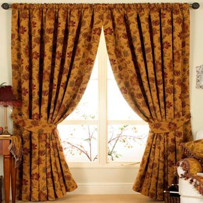 Paoletti Zurich Floral Chenille Jacquard Lined Pencil Pleat Curtains, Gold, 66 x 90 Inch