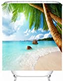 Exotic Beach klares Wasser und Palm Tree by the Shore mit Bright Sky Landschaft Bild? Decor Badezimmer Textil Freizeit Traveler Explorer Print Stoff Duschvorhang (cs-yl29–1), 1, 59x71inch
