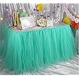 hangnuo hecho a mano tutú de tul falda de mesa para fiesta de cumpleaños, boda, baby shower y decoración del hogar
