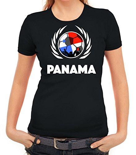 ShirtStreet World Cup Wappen Soccer Fussball WM Fanfest Gruppen Fan Wappen Damen T-Shirt Fußball Panama Schwarz