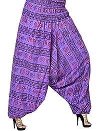 Jwf Men's & Women's Cotton Harem Pant (Purple_Sotp_129_Free Size)