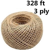 Cuerda de yute de 3 capas (de cuerda natural resistente para manualidades, envolver regalos, Navidad, boda, decoración de jardín), color natural, color Natural Color