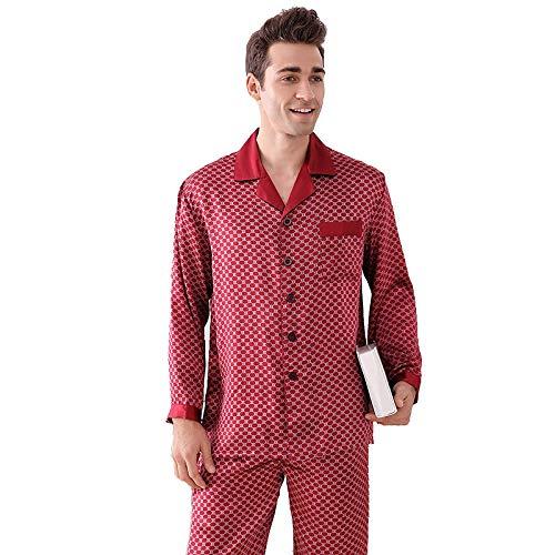 Herren 100% Seide Langarm Pyjama Set Nachtwäsche Classic PJ Set Leichte Nachtwäsche Loungewear Button-Down Pj Set,Red,XL - Button-down Pj Set