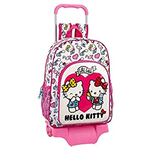Hello Kitty Mochila Grande Ruedas, Carro, Trolley, 42 cm, Rosa/Blanco