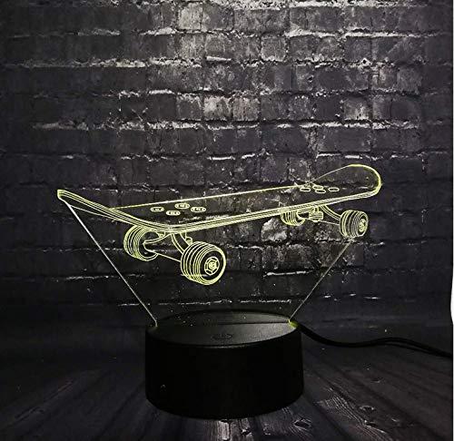 Cooles Skateboard Cooler Sport 3D LED Nachtlicht Schreibtisch Tischlampe Schlafzimmer Schlaf 7 Farbwechsel Kind Weihnachten Junge Mann Geschenk Spielzeug, Siebenfarbige Fernbedienung (Cooler Schreibtisch Spielzeug)