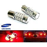 2x Luffy 380P21/5W 1157BAY15D Ampoule LED Samsung 40W Brouillard arrière côté Indicateur de queue d'arrêt de frein Rouge Clair