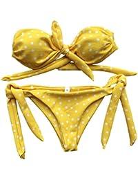OHQ Maillot De Bain Imprimé Bikini à Pois Noir Femmes pour PièCe Dot Push Up Rembourre Ensemble Push-Up Taille Haute Bandeau Rembourré Bow Maillots Beachwear