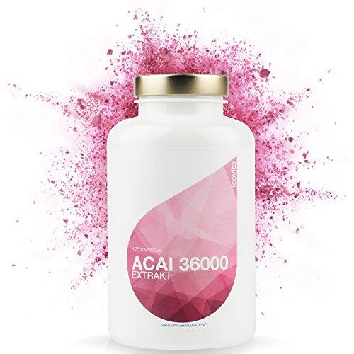 LEOVita Acai 36000 • Ideal zum Abnehmen • für natürliche Schönheit • hochdosiert aus Acai Beeren Extrakt • 170 Kapseln • 100% Vegan • hergestellt in Deutschland - Acai-früchte Kapseln
