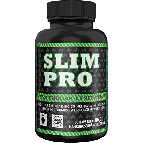 SLIM PRO Appetitzügler + Fatburner Doppeleffekt mit WIRKNACHWEIS für schnelles Abnehmen + Diät Stoffwechsel Kur + Appetithemmer, 180 Kapseln (Bauch Fett Abnehmen Am Tee)
