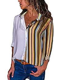 Mujeres Tops Rovinci Las Mujeres cómodas de Moda de otoño Casual Flojo de Manga Larga Colorido Bloque de Rayas botón Camisetas Tops…