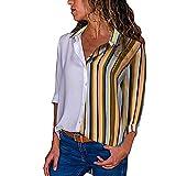 UFACE Damen Long Sleeve Striped Button Shirt Top beiläufige Lange Hülsen-Farben-Block-Streifen-Knopf-T-Shirts übersteigt Bluse(Schwarz,EU/44CN/M)