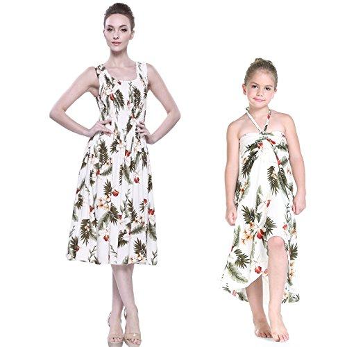 Madre-e-hija-que-hacen-juego-el-vestido-elstico-del-tanque-de-Hawaii-Luau-Mariposa-de-la-muchacha-en-Crema-de-Orqudea-2