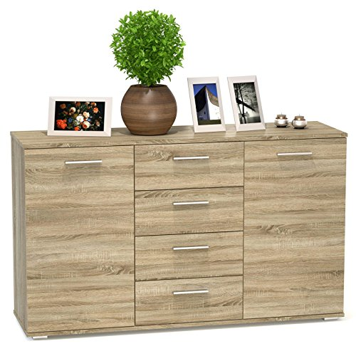 137 95 carombel kommode sideboard highboard chicago in sonoma eiche mit 2 tren und 4 schubladen. Black Bedroom Furniture Sets. Home Design Ideas