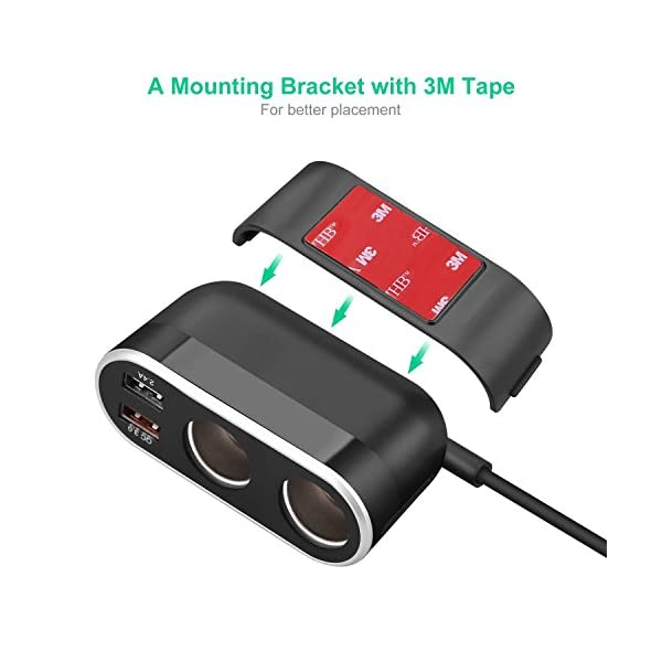 Te-Rich 2-Socket Cigarette Lighter Quick Charge 3.0 Car Charger Power Adapter DC Outlet Splitter with 5.4A Dual USB Ports for iPhone iPad, Samsung Galaxy and More 6
