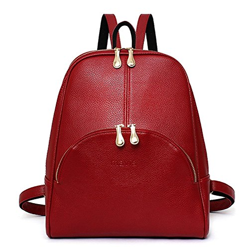 TWOPAGES® Faux Leather Mini Backpack for Women Casual Fashion Backpack for Girls Medium Red