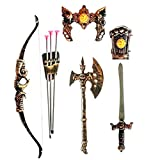 HALO NATION® Kids Bahubali Warrior Set - Knights Fancy Dress Kids Cosplay - Bow Archery , King's Sword, Shield and Dagger (Gold)