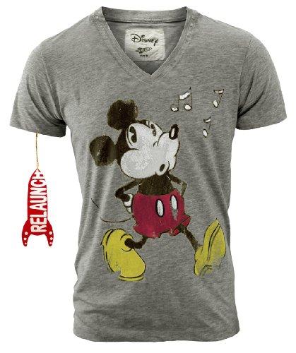 RELAUNCH Disney Retro Herren T-Shirt MICKEY MOUSE WHISTLE V-Neck Sportsgrey Gr. L