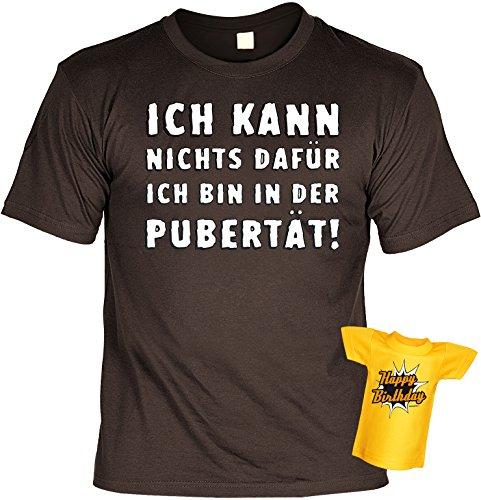 cooles Geburtstags T-Shirt für Herren in braun mit Mini Shirt - Ich kann nichts dafür ich bin in, ideal als Geschenk Braun