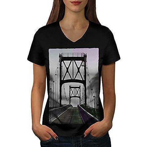 Pont Urbain Route Mode rivière Structure Femme S T-shirt à col en V | Wellcoda