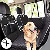 Pecute Dog Car Seat Cover 100% Waterproof,Rear Seat Covers for Dogs with Viewing Window/Side Flaps/Storage Bags,Dog Car Hammock Scratch Proof Nonslip Back Seat Protector for Cars Trucks SUV(146x136cm)