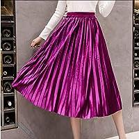 Deep Pink Velvet Skirt Long Pleated Women Skirt Free Size