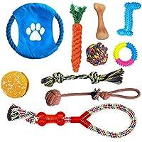 Aidle 100% Natural de Cuerda de Algodón Durable Play Squeaky Ball Masticar y el entrenamiento de juguete, Set para los perros pequeños a medianos - Juego de regalo (10 piezas)