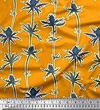 Soimoi Orange Seide Stoff künstlerisch Blumen- gedruckt