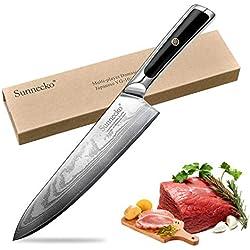 Couteau de Chef - Sunnecko Couteau de Cuisine Professionnel 20 cm Couteau de Coupe Japonais Damas - Lame Tranchante et Anti-Corrosion
