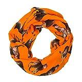 MANUMAR Loop Panther Katze orange braun Schal Rundschal Schlauchschal Damenschal Endlosschal Tuch Scarf Weicher Schal Kinder Geschenk Freundin Damen