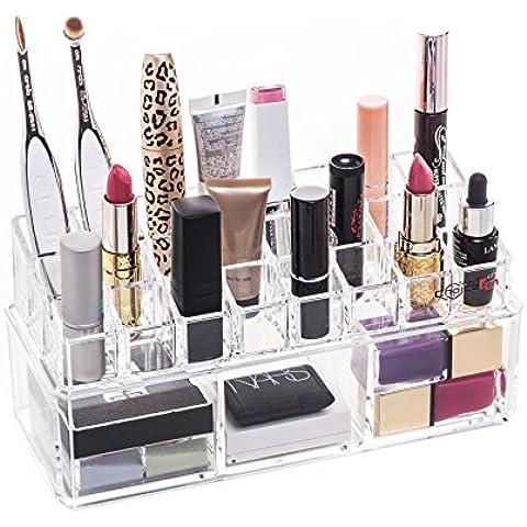 Choice Fun Acrílico Organizador de Maquillaje Tocador de Baño Accesorios con 24 Rejas 3 Secciones