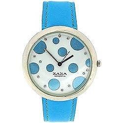 Zaza London Sky Blue PU Strap Ladies & Blue Spotty Dial Fashion Watch LLB850