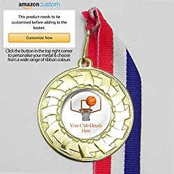 20 medallas de baloncesto personalizables en cintas, All Gold