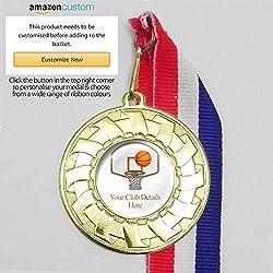 20 medallas de baloncesto personalizables en cintas, All Gold