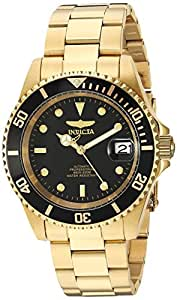 Invicta Men's Automatic Watch with Black Dial Analogue Display and Gold Stainless Steel Plated Bracelet 8929OB